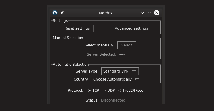 NordPy - NordVPN Client for Linux