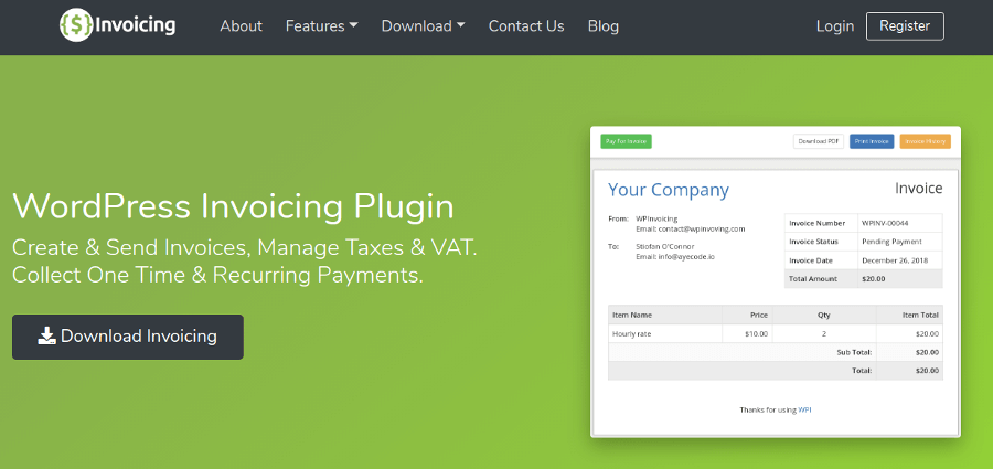 WP Invoicing - Plugin