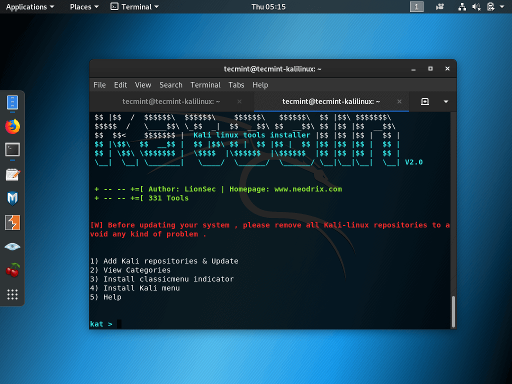 Install Katoolin in Kali Linux