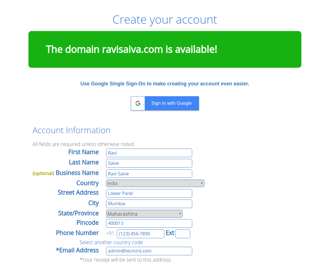 Create Account at Bluehost
