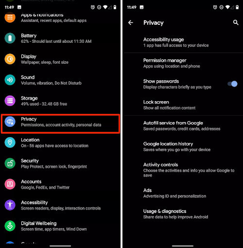 Android Q Privacy Controls