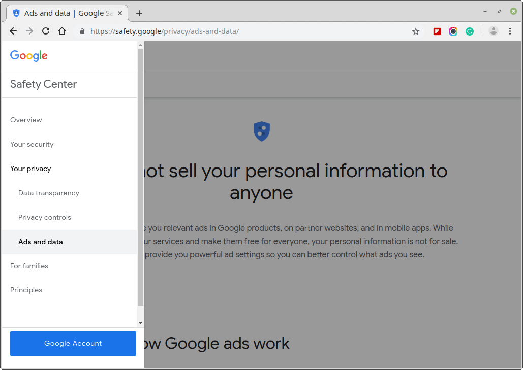 Google Privacy and Ad Settings