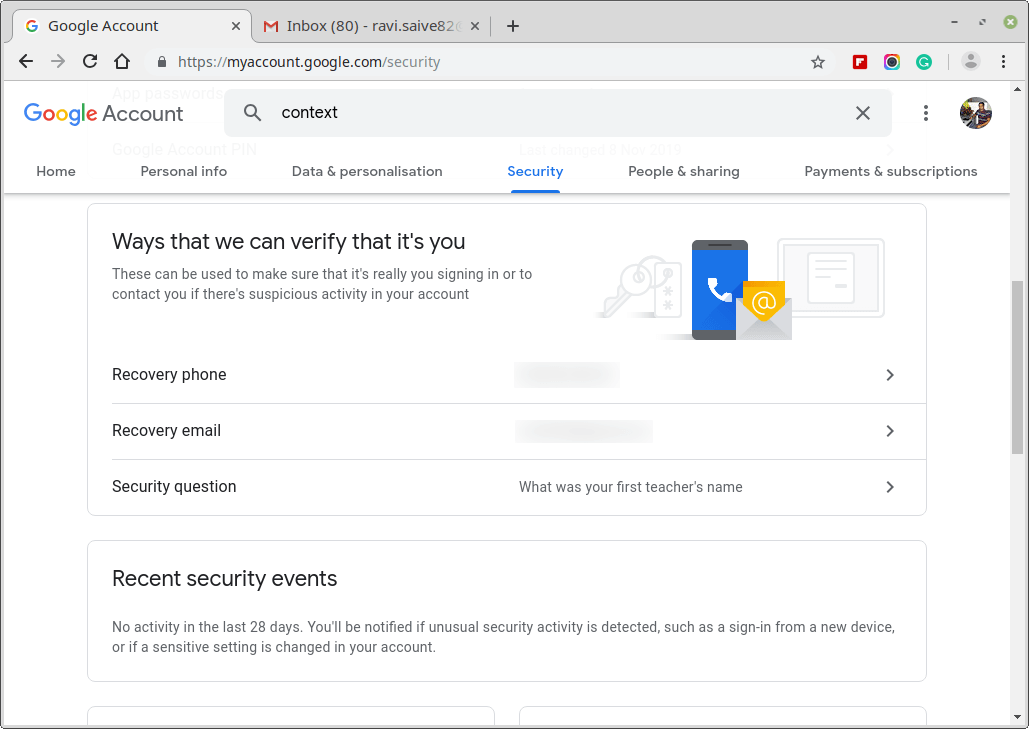 Google Recovery Information