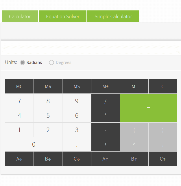 Online Calculator with Equation Solver