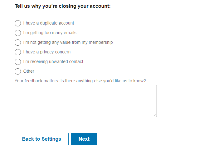 Linkedin Close Account