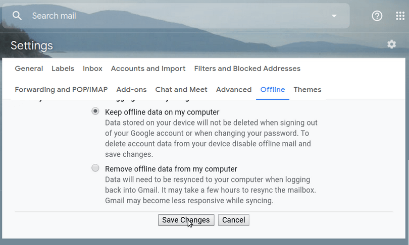 Click on Save Changes - Enable Gmail Offline
