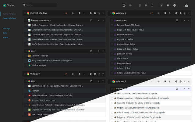 Cluster Windows Tab Manager - Chrome Extension