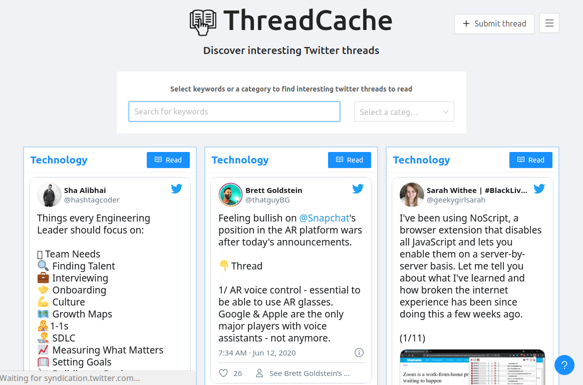 Thread Cache - Discover Interesting Twitter Threads