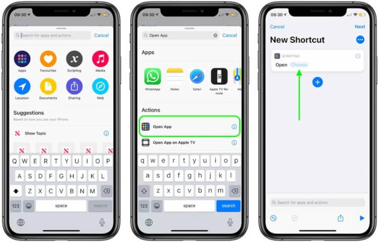 Choose New Shortcut