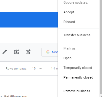 Remove Google Business from List